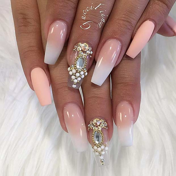 French Ombre Coffin Nail Design