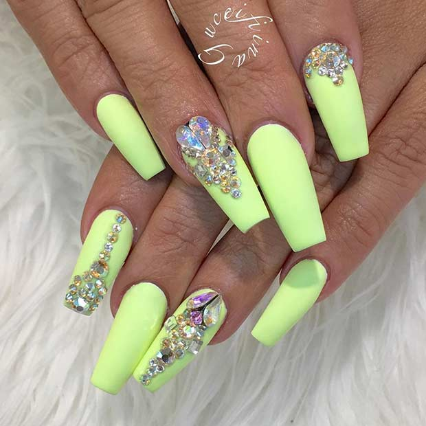 Neon Lime Green Coffin Nails for Summer