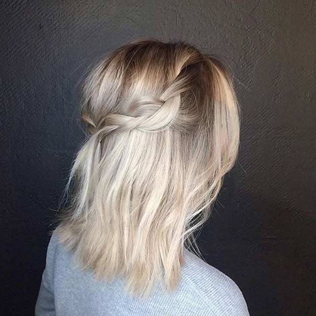 Simple and Easy Braided Crown for Medium Length Hair