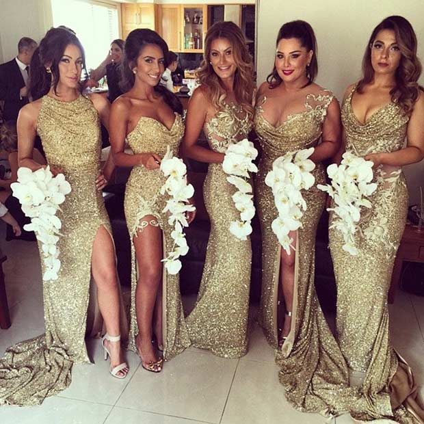 Gold Sequin Mismatched Dresses for Bridesmaids