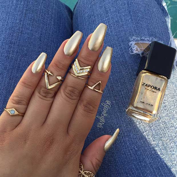 Gold Coffin Ballerina Nail Design