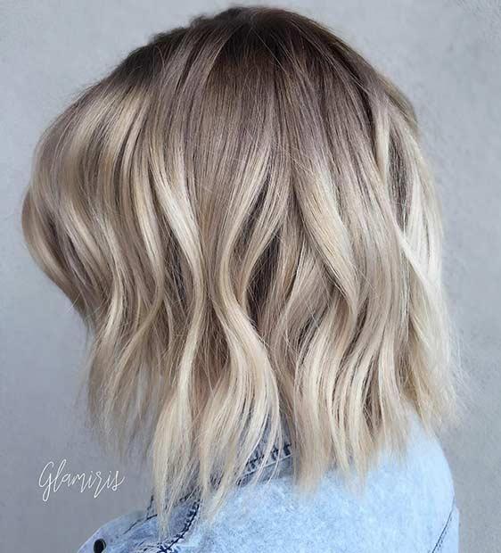 Wavy Blonde Long Bob Hairstyle