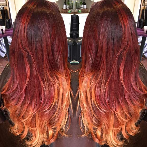Red to Golden Blonde Ombre Hair