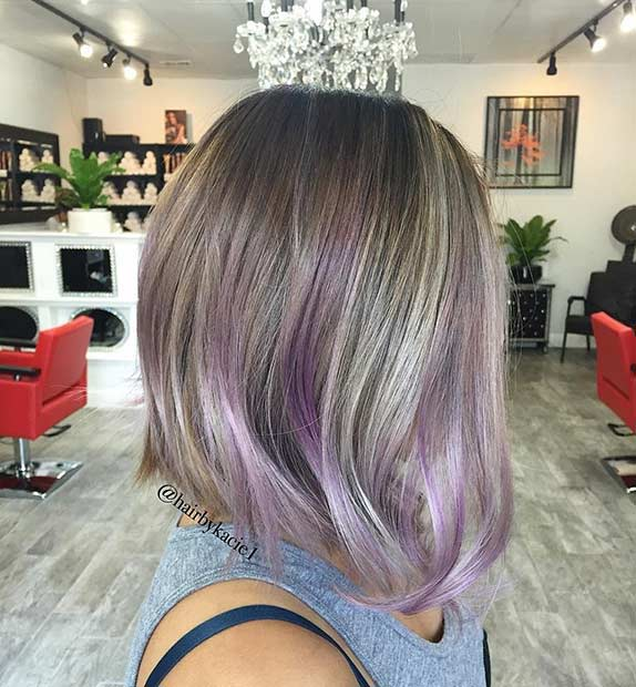 A Line Bob Haircut with Lavender Highlights