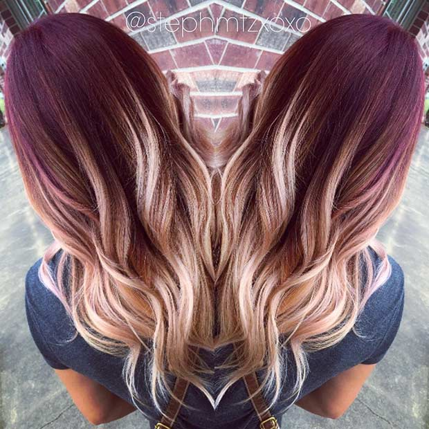 Burgundy Red to Blonde Ombre Hair