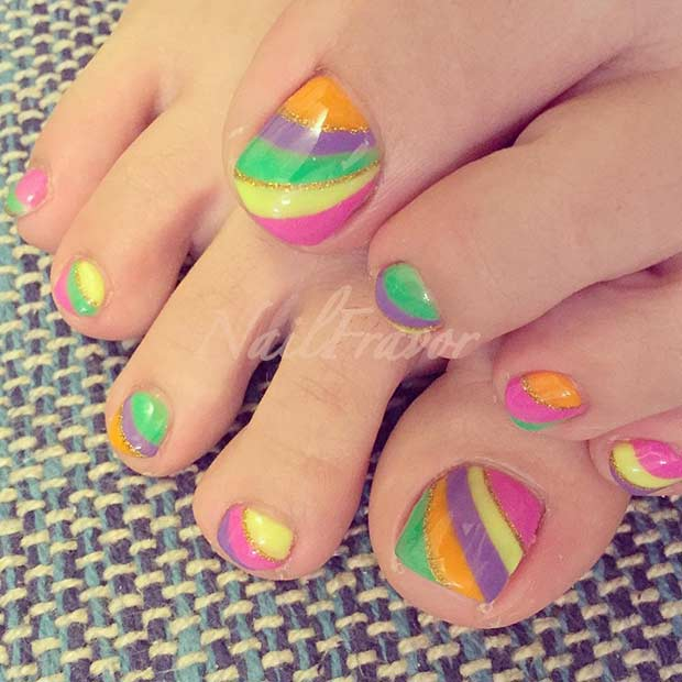 Stripy Colorful Toe Nail Design for Summer