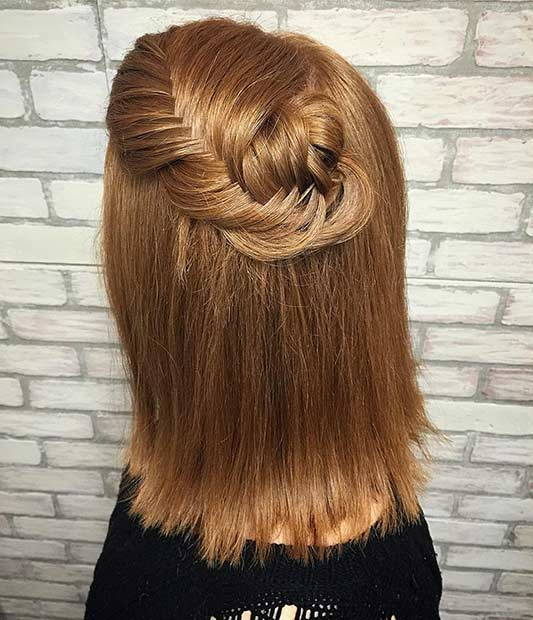 Simple Fishtail Braid Hairstyle for Medium Length Hair
