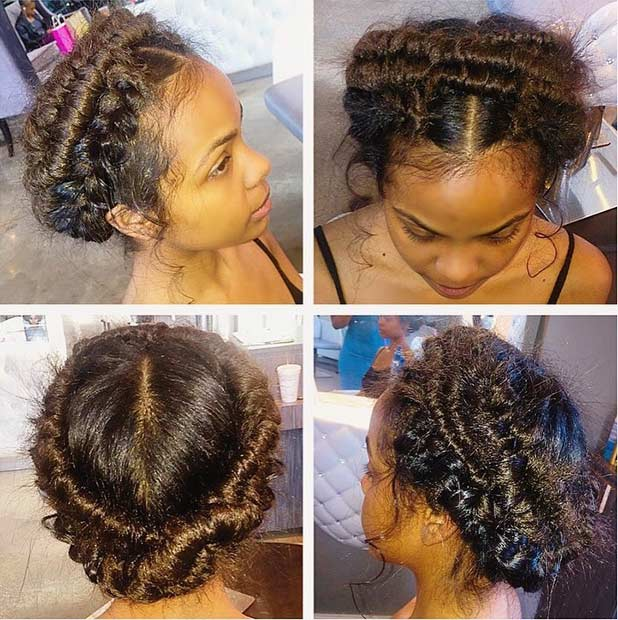 Messy Fishtail Braided Updo for Black Women