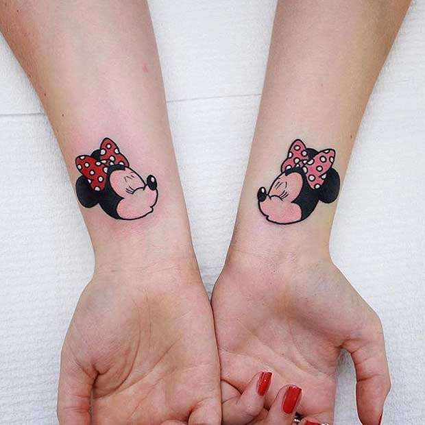 Matching Disney Minnie Mouse Tattoos for BFFs