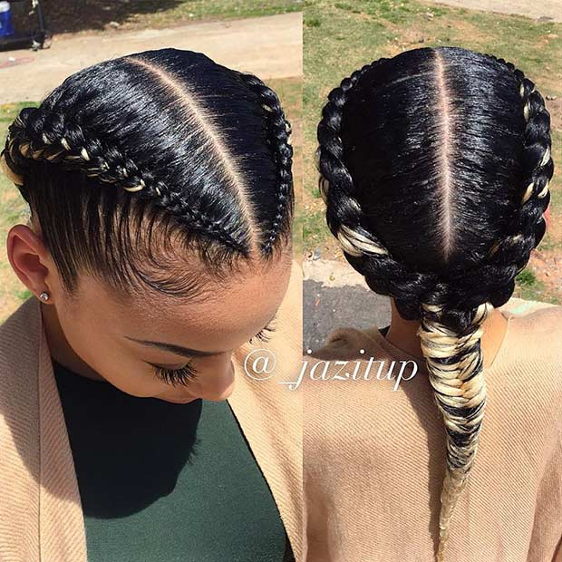 Cornrows into a Fishtail Braid