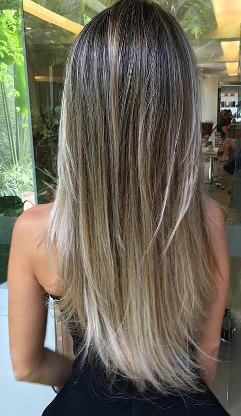 Sleek and Straight Layers on Long Hair