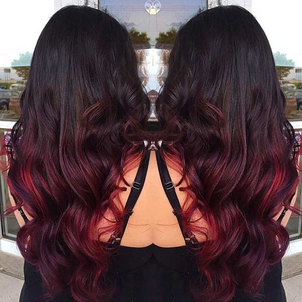 Dark Brown To Red Ombre Hair
