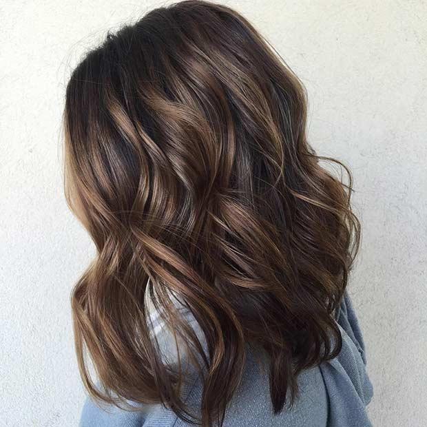 Chocolate Brown Balayage Long Bob Hairstyle
