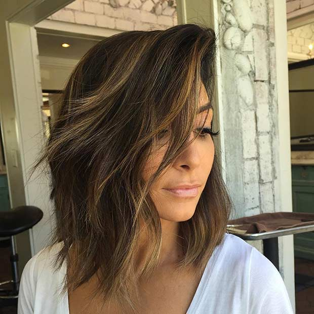 Layered Long Bob Haircut with Caramel Balayage Highlights