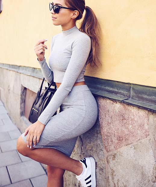 Gray Two Piece and Adidas Sneakers Outfit Idea