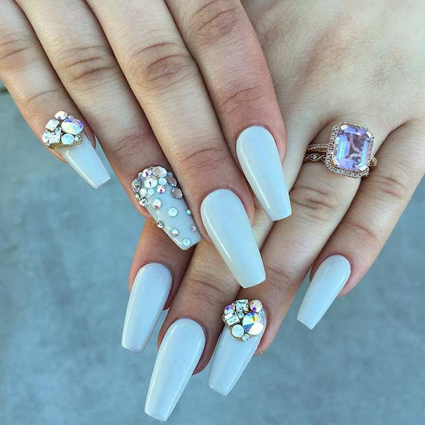 Long Gray Coffin Nails with Rhinestones