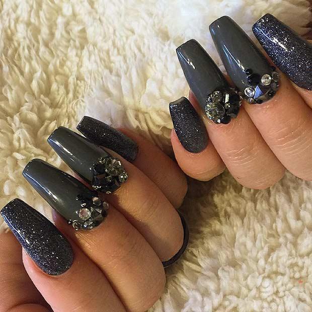 Black and Gray Coffin Nail Design