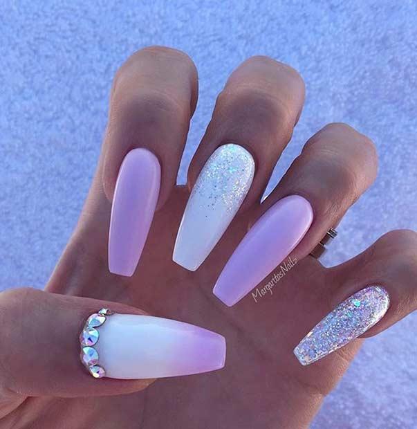 Long Coffin Pink Nail Design