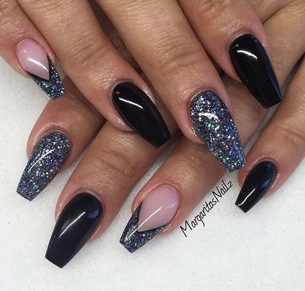 Black Glitter Ballerina Coffin Nail Design