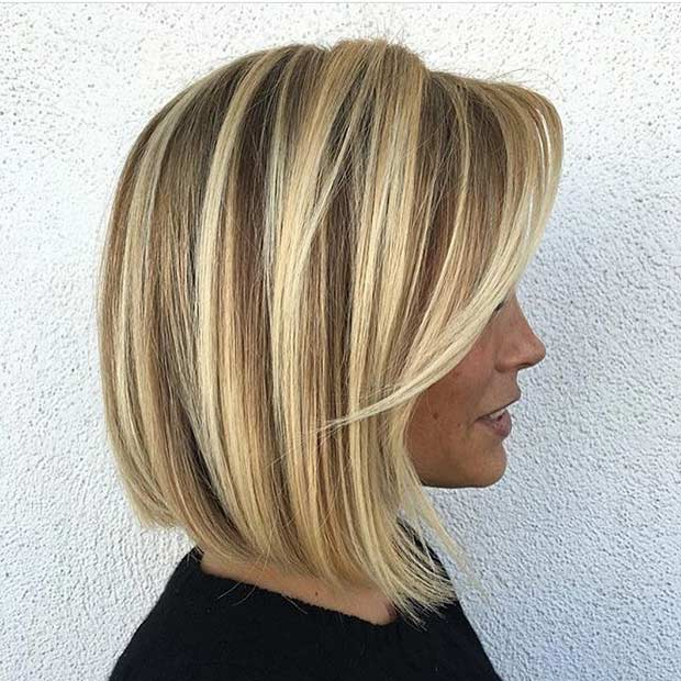 Blonde Balayage Bob Haircut with Side Bangs