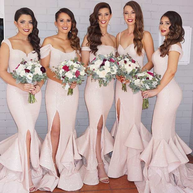 Blush Mismatched Dresses for Bridesmaids