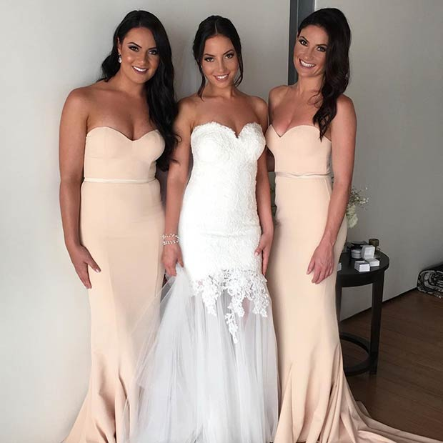 Simple Champagne Dresses for Bridesmaids