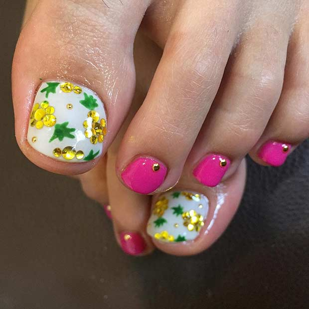Pineapple Fruit Toe Nail Design for Summer