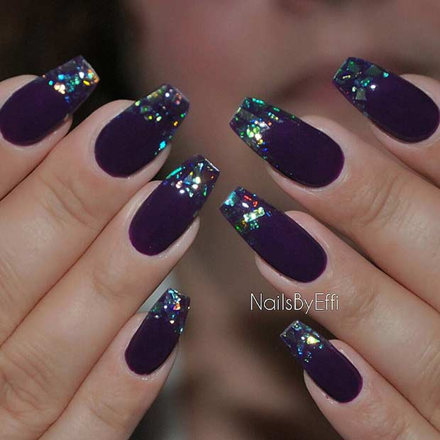 Purple Broken Glass Coffin Nail Design