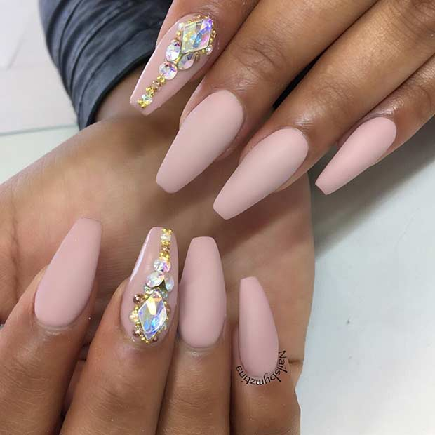 Matte Nude Coffin Nails with Rhinestones