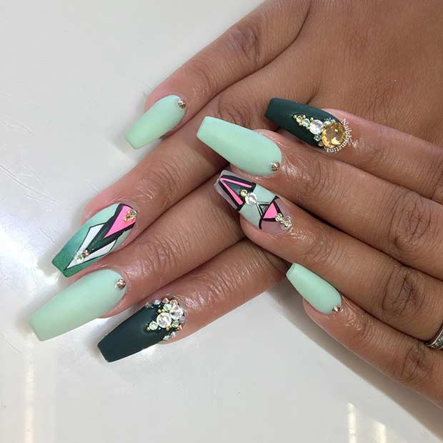 Mint Green Coffin Nail Design