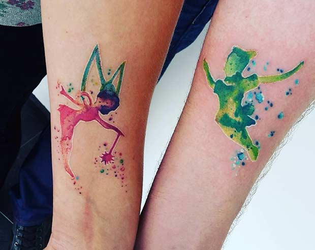 Watercolor Couple Tattoos Inspired by Disney
