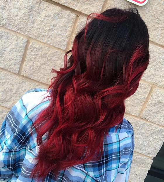 Light Red Ombre Hair Color Idea