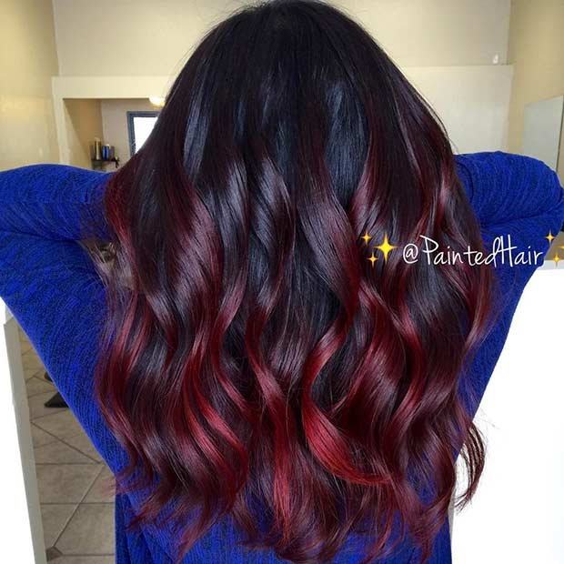 Subtle Black To Red Ombre Hair