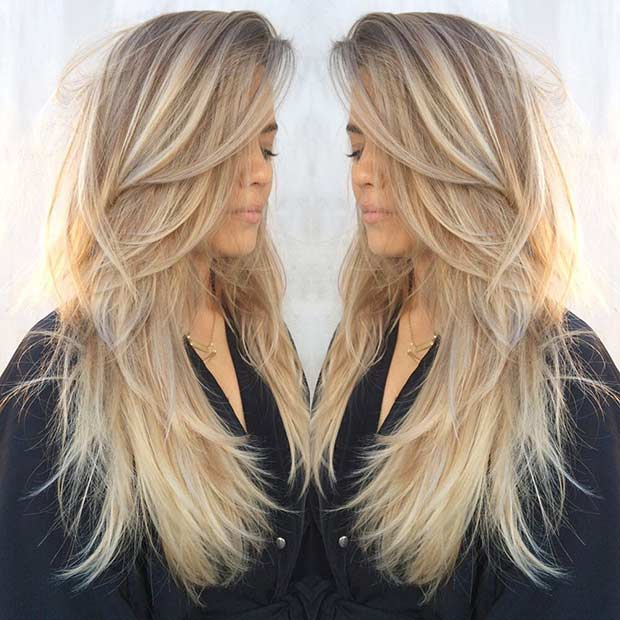 Long Layered Haircut for Blondes