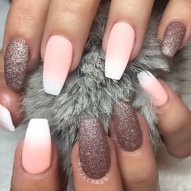 Matte Ombre Coffin Nail Design