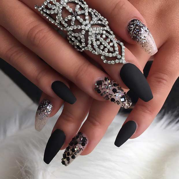 Black Matte Coffin Nail Design