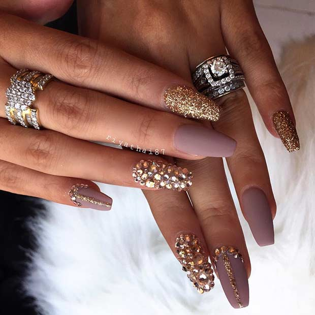 Gold and Matte Nude Coffin Ballerina Nails