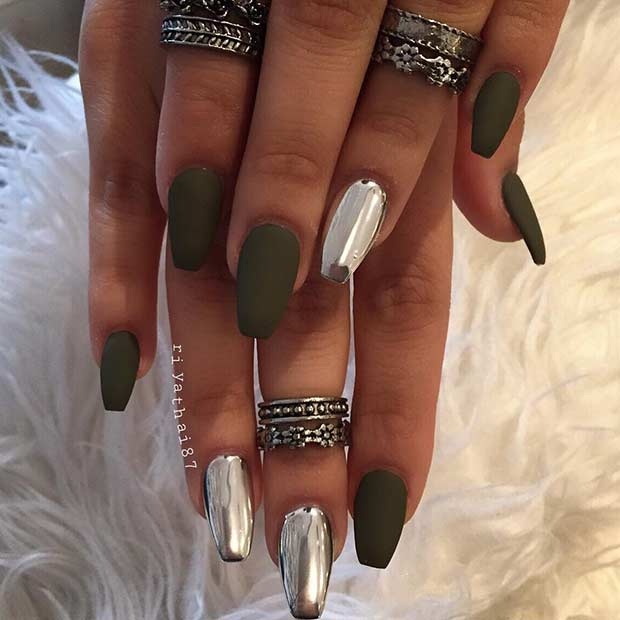 Chrome and Matte Coffin Nails