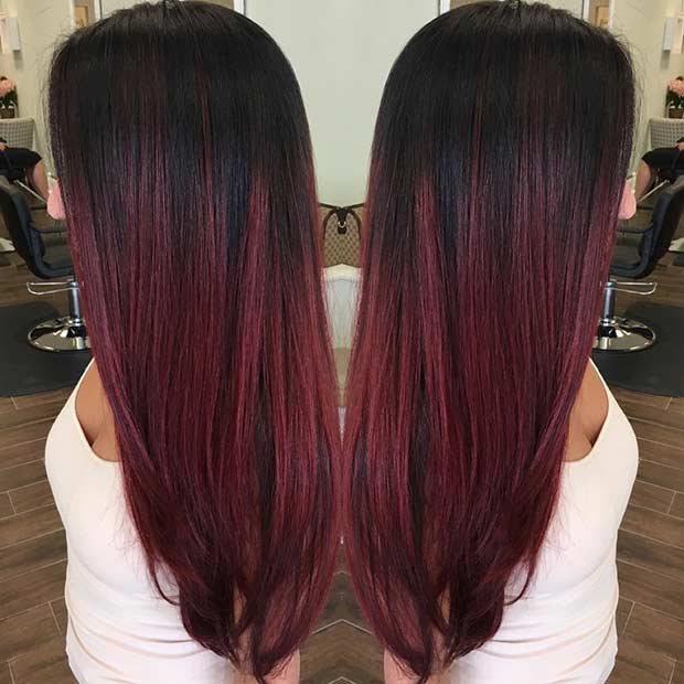 Black To Dark Cherry Red Ombre Hair