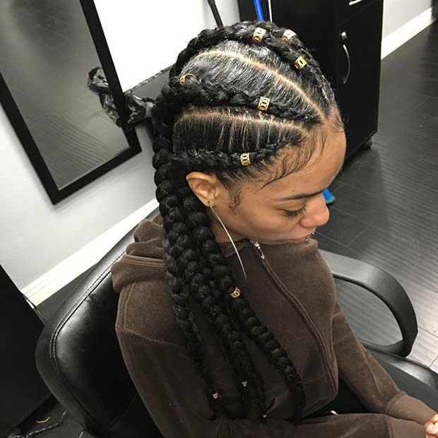 Long Cornrow Braids with Extensions