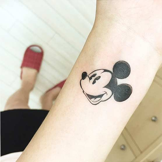 Simple Vintage Mickey Mouse Tattoo Idea