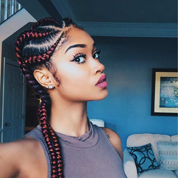 Cornrow Hairstyles cornrows hairstyles0271 Red Jumbo Cornrow Braids