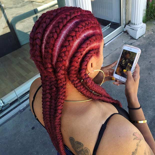 Red Straight Back Cornrows Style