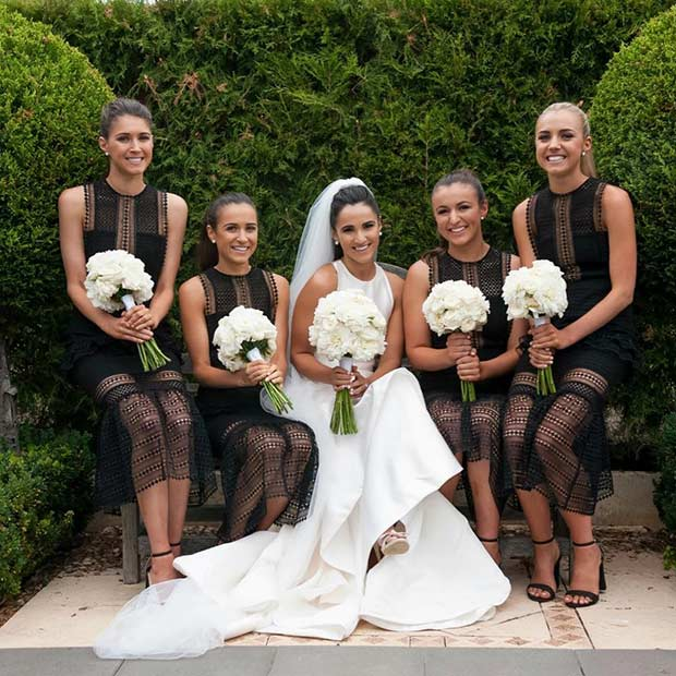 Black Lace Dresses for Bridesmaids