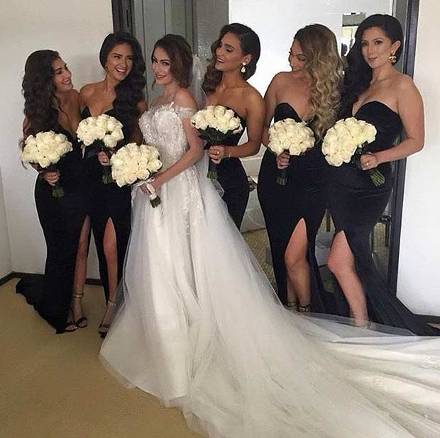 Sexy Black Sleeveless Dresses for Bridesmaids