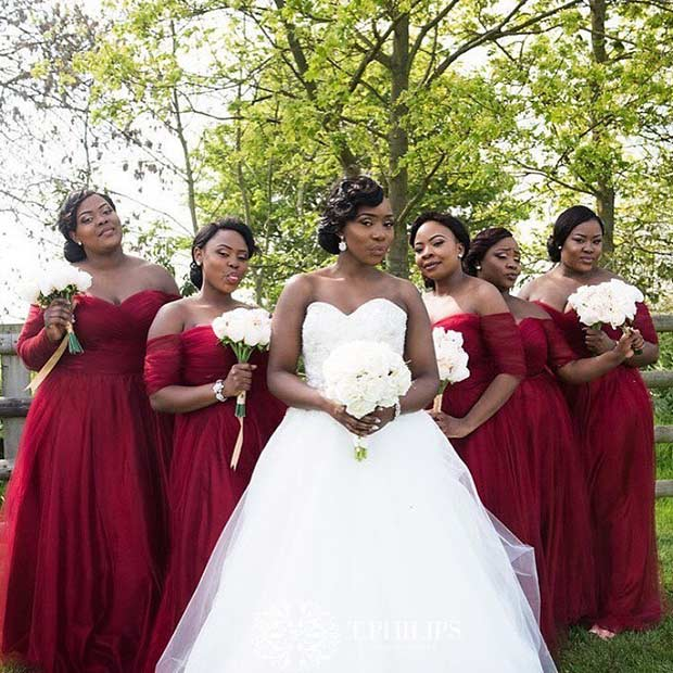 Burgundy Off the Shoulder Dresses for Bridesmaids