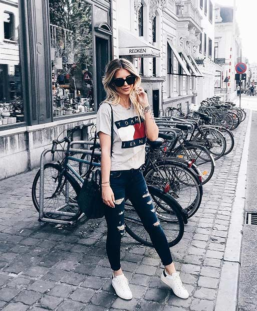 Gray T Shirt Ripped Jeans Casual Outfit Idea