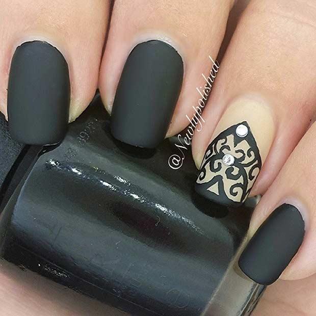 Black Matte Lace Nail Design