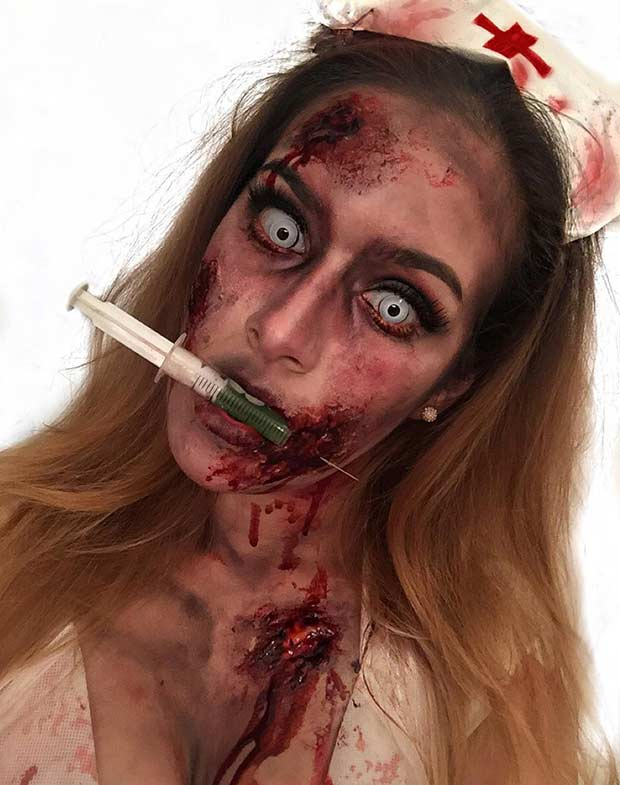 Zombie Nurse Scary Halloween Makeup Look