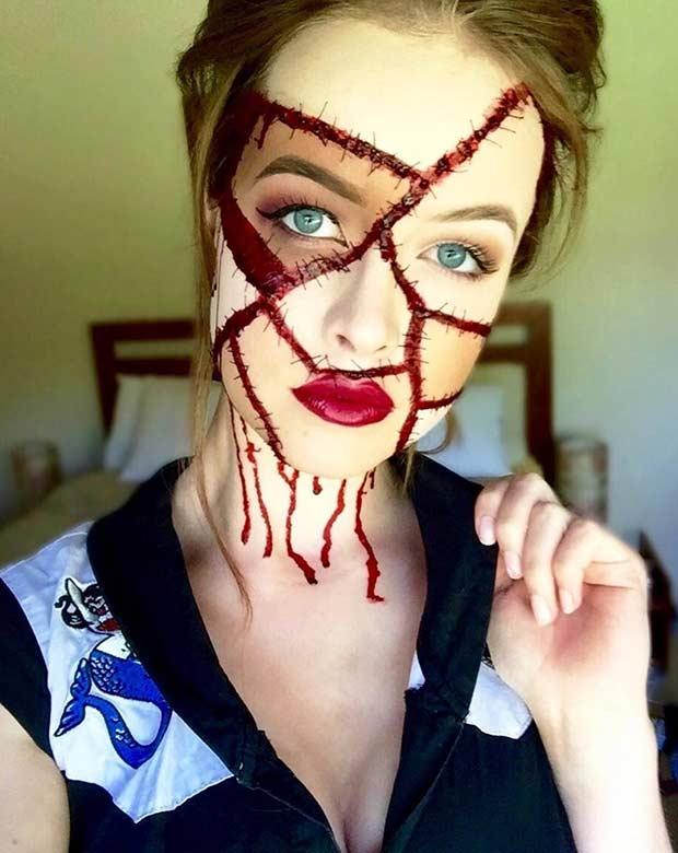 Frankenstein's Mistress Scary Halloween Makeup Look